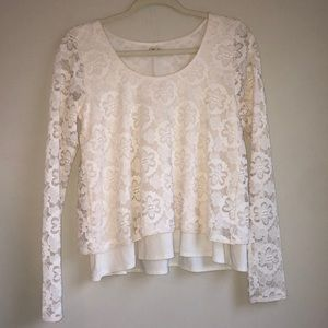 Hollister Flowy White Lace Top